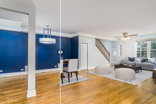 Before and after example of virtual staging offered by XL Visions